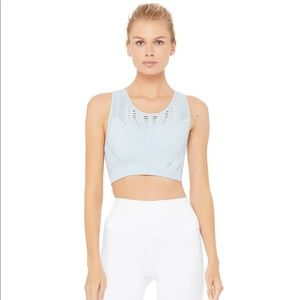 Alo Yoga Lark Crop Top Powder Blue Heather S